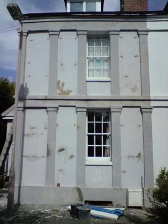 Old stucco house in Cheltenham