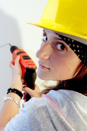 A woman doing some DIY