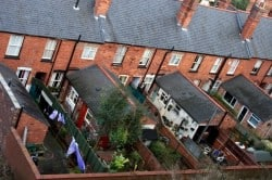 A birds eye view of a row of houses in england