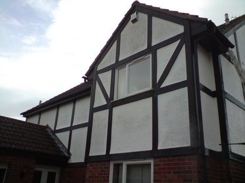 Mock tudor house in Bradford in need of a repaint