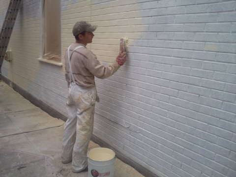 Painting brick walls