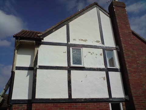 Flaking masonry paint