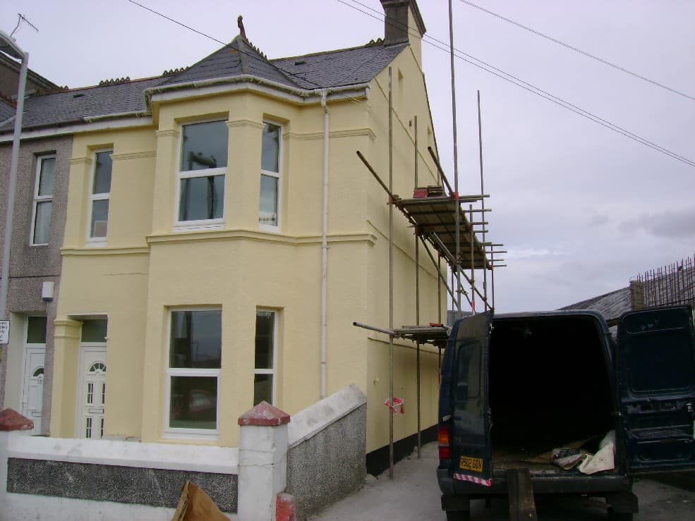 And this is the finished house after rendering and wall coating