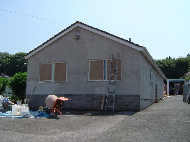 Another view of us working on the house
