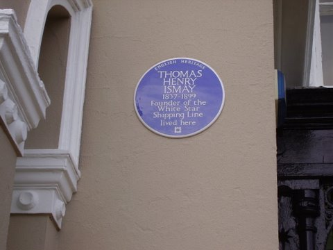 English heritage blue plaque of the titanic owners home
