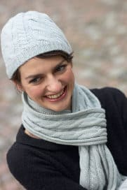 woman wearing a scarf and hat as its cold