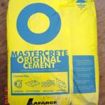 A bag of mastercrete portland cement