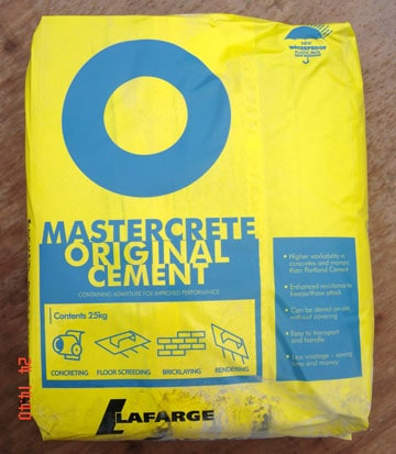 A bag of mastercrete portland cement
