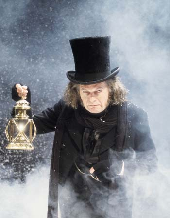Charles Dickens ebenezer Scrooge on his way to the pound shop