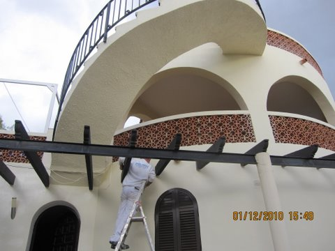 A house in Javea, costa Blanca, being painted