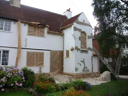 A house being repaired