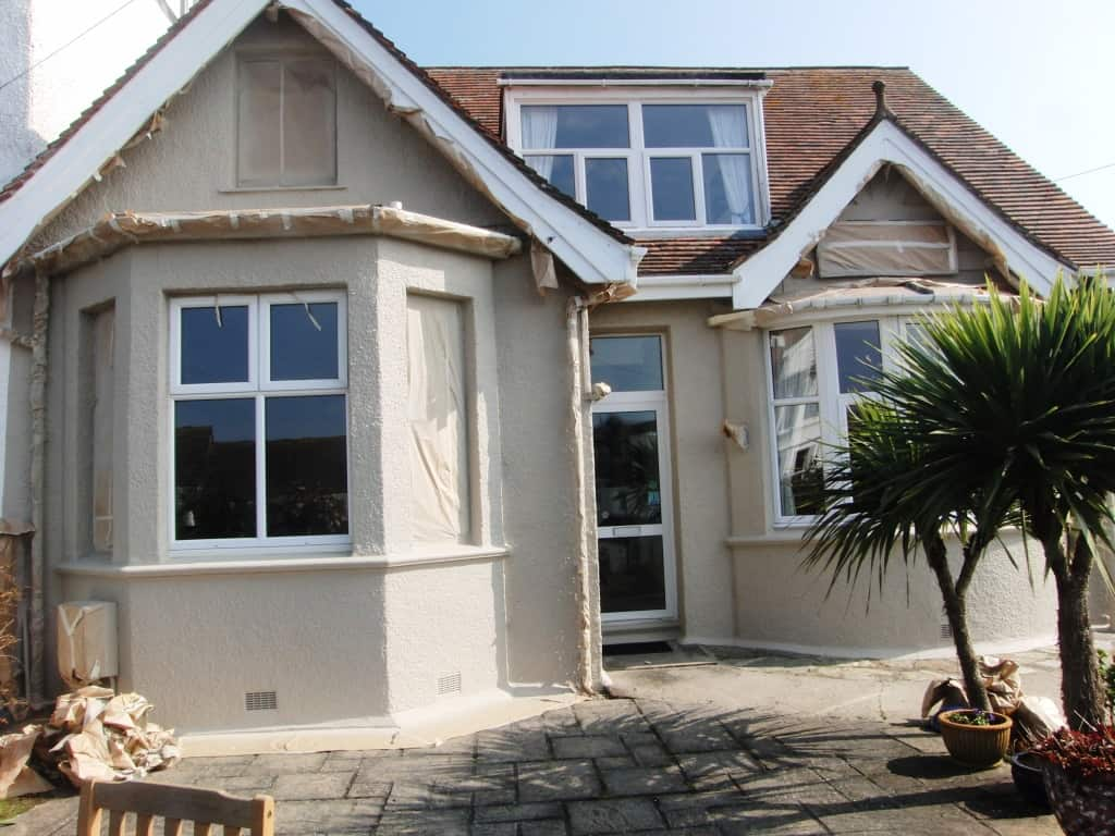 Front of falmouth house after spraying the coating