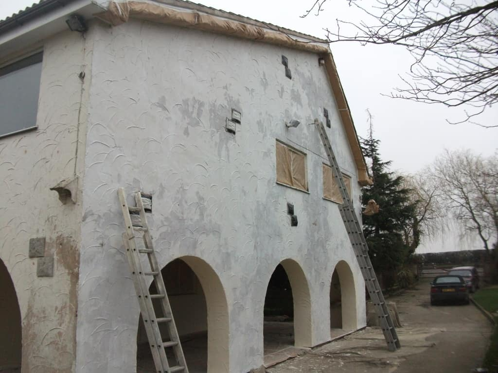 Exterior prep work before the painting could begin