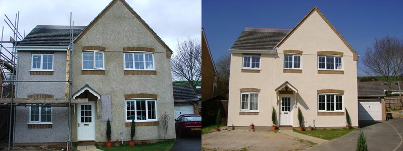 BEFORE AND AFTER EXTERIOR WALL COATINGS