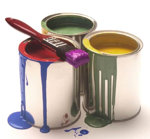 Tins of Paint with drips