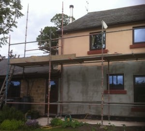 2nd job applying the coloured render coating