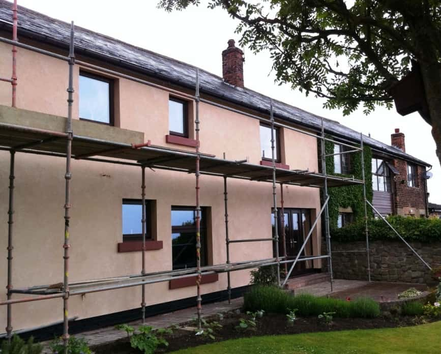 The completed coloured render job in Lancashire