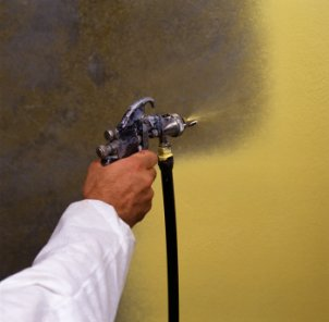 Graco spray paint on exterior wall