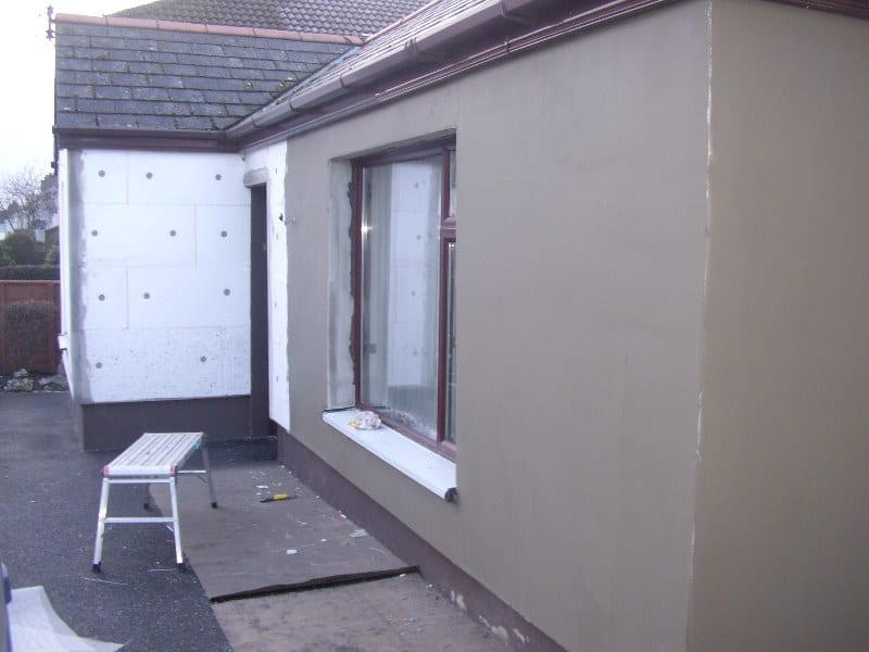 The render is applied to the insulated wall