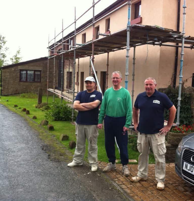 rendering crew with customer upon completion