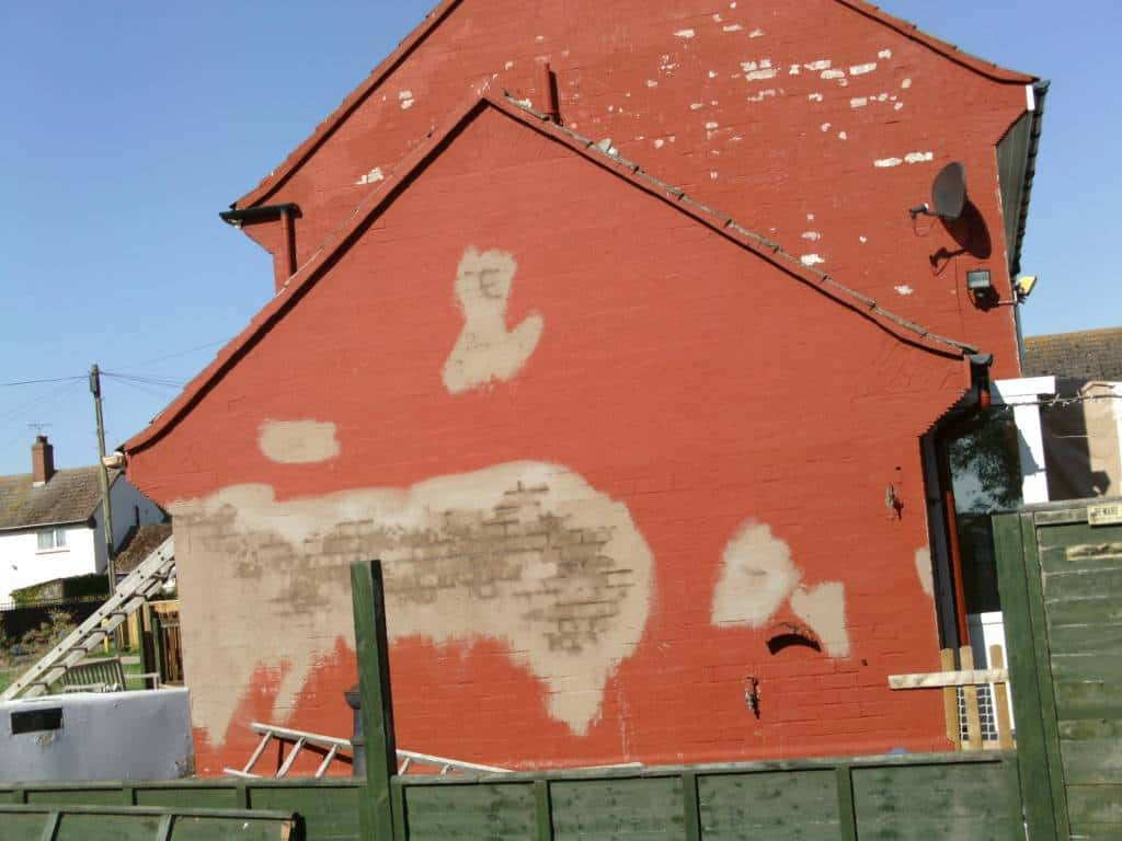 aCracked render on gable end wall