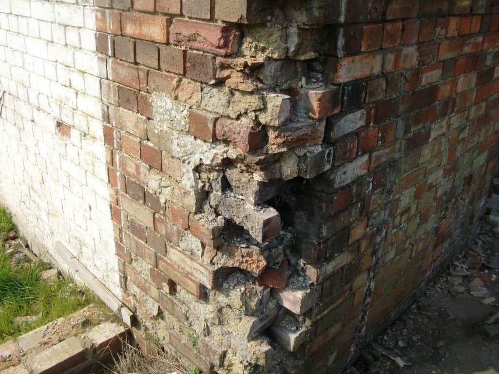 poor condition bricks eroded