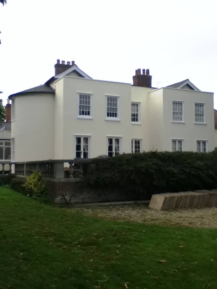 A mansion house with an external wall coating from never paint again