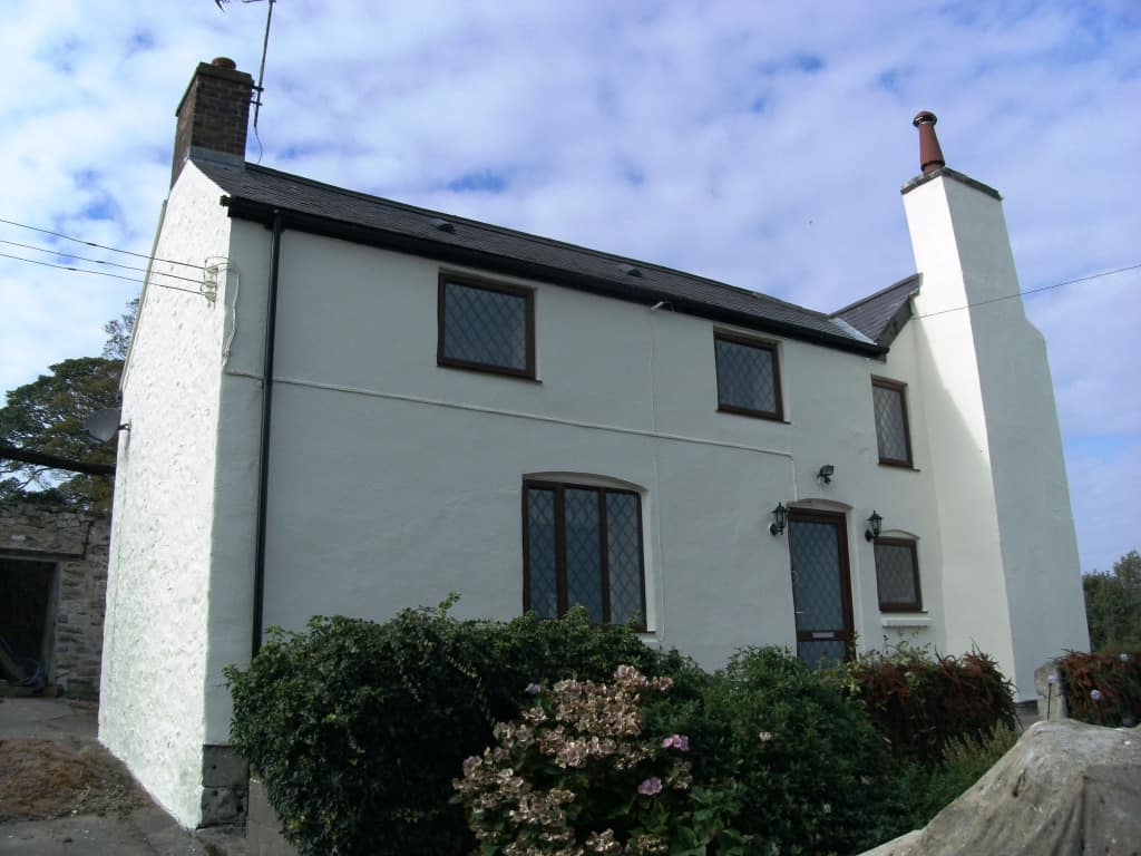 A house in Wales with an exterior textured wall coating