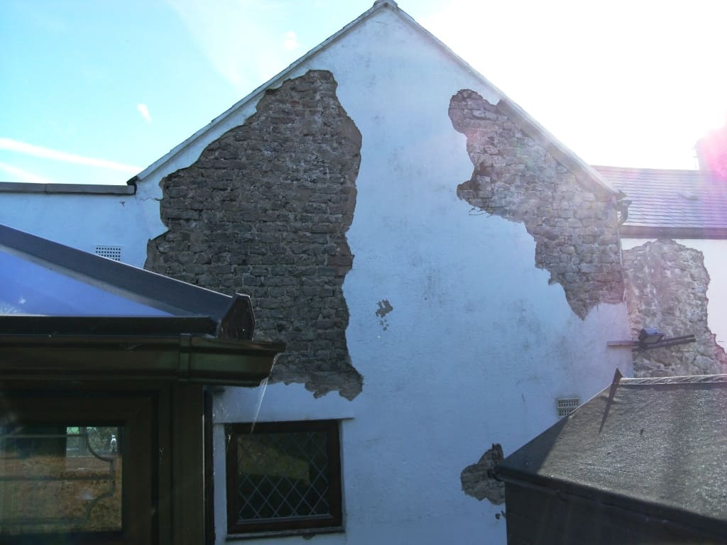 Hollow and blown Rendering falling off a wall