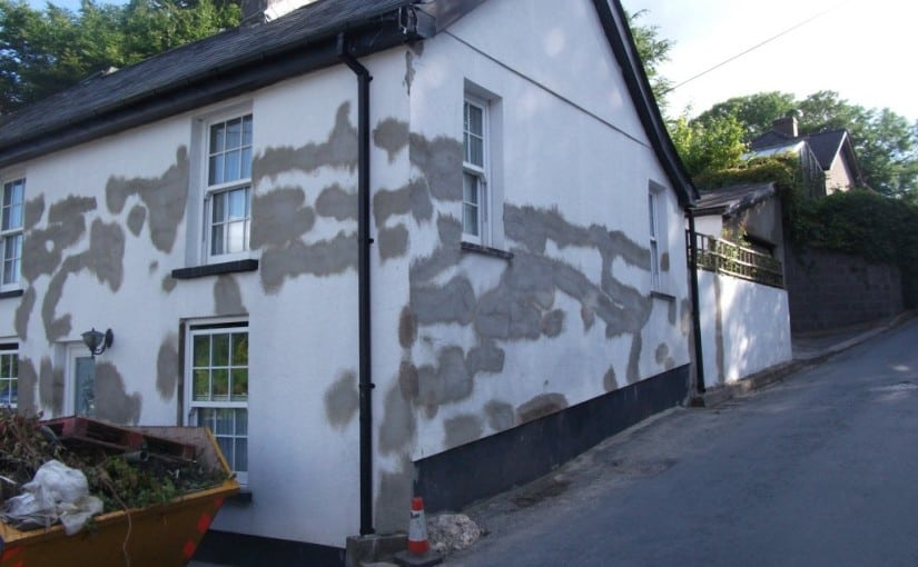 House in Wales with repaired render cracks