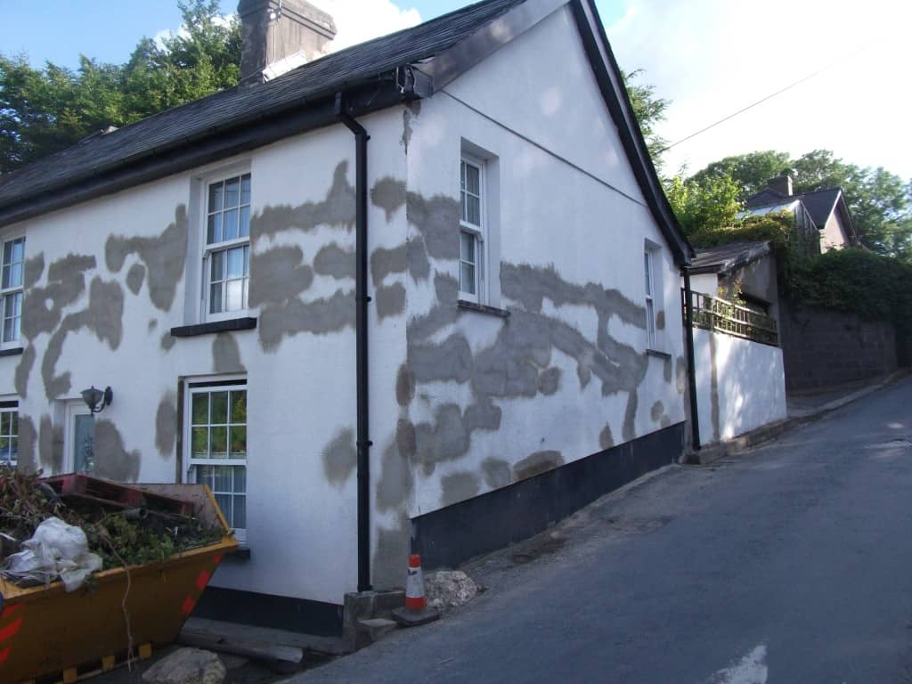 Repaired render cracks on a house in Wales
