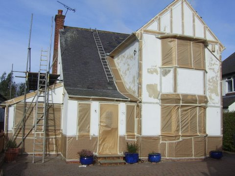 This shows us working on the Mock tudor walls