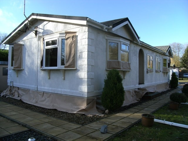 This is a park home we painted last year, and shows the primer stage