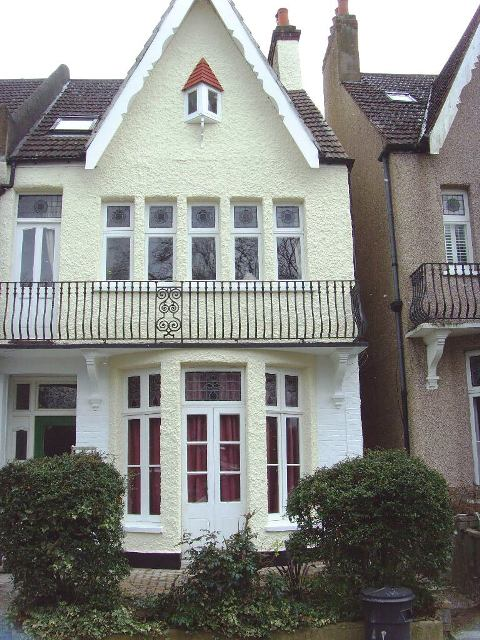 A London house painted with exterior wall coatings