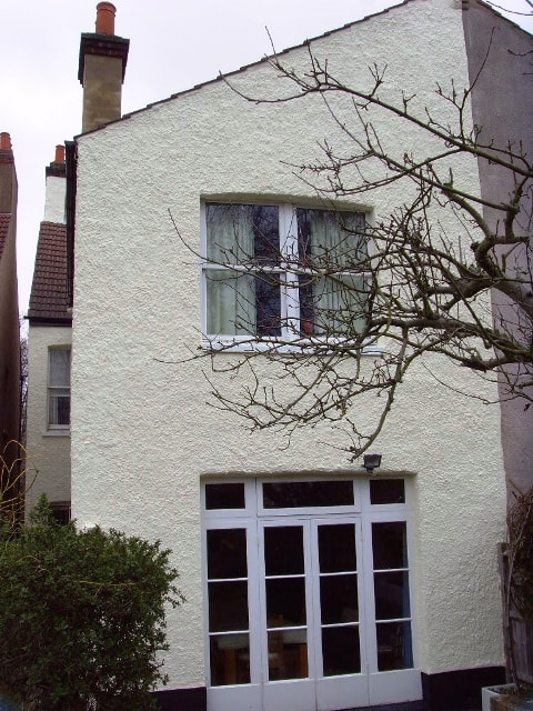 Rear of london house with exterior wall coatings