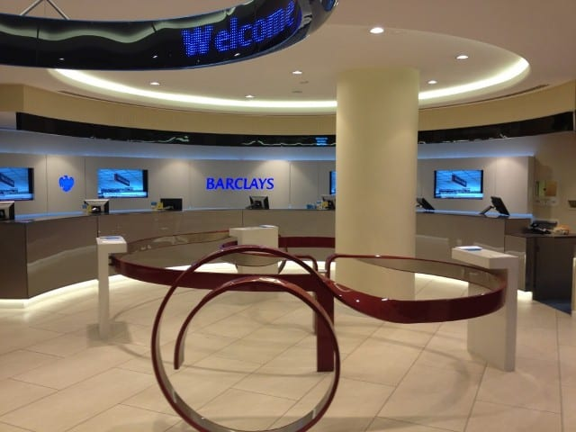 A barclays bank branch decorated by Greg's team