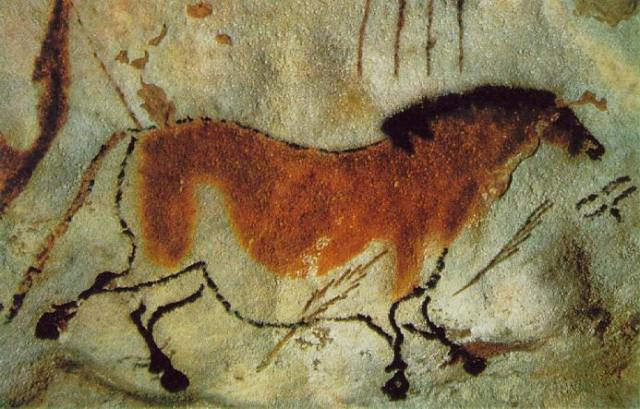 A cave painting of a horse
