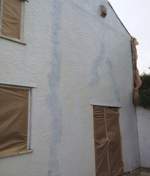 After crack repair and primer. See how we matched the repairs in to the wall?
