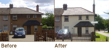 before and after photo of house painting