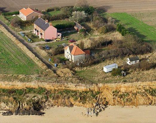 garden vanishing due to erosion in Suffolk