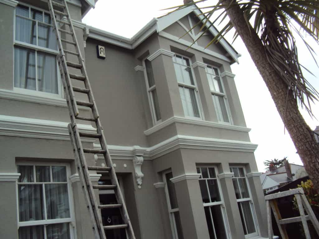 painting house with palm tree in the way