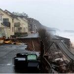 Storm damage at Dawlish, Damage to the railway tracks and road at Riviera Terrace and Sea lawn Terrace, Dawlish.