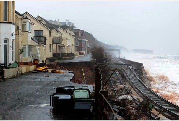 Storm damage at Dawlish, Damage to the railway tracks and road at Riviera Terrace and Sea lawn Terrace, Dawlish.