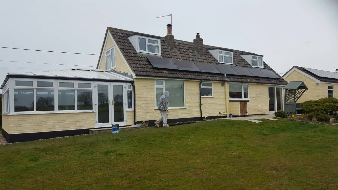 Completion of exterior wall coating application on dorset bungalow
