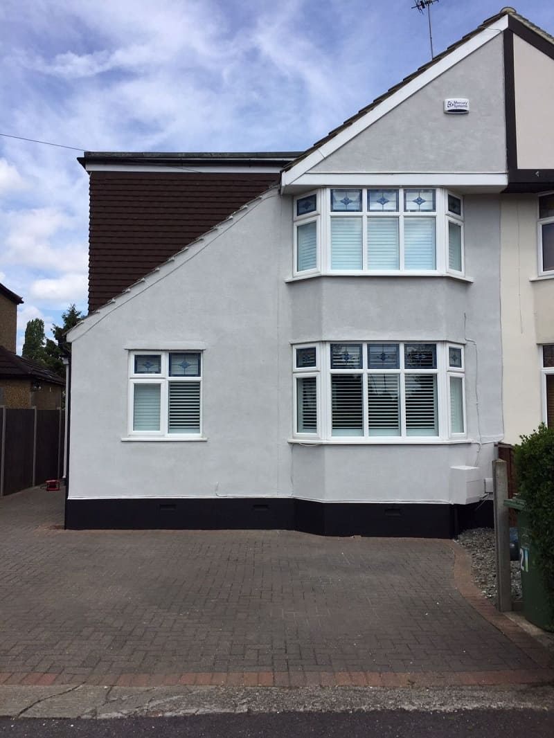white wall coating on a house in Essex done by Never Paint Again