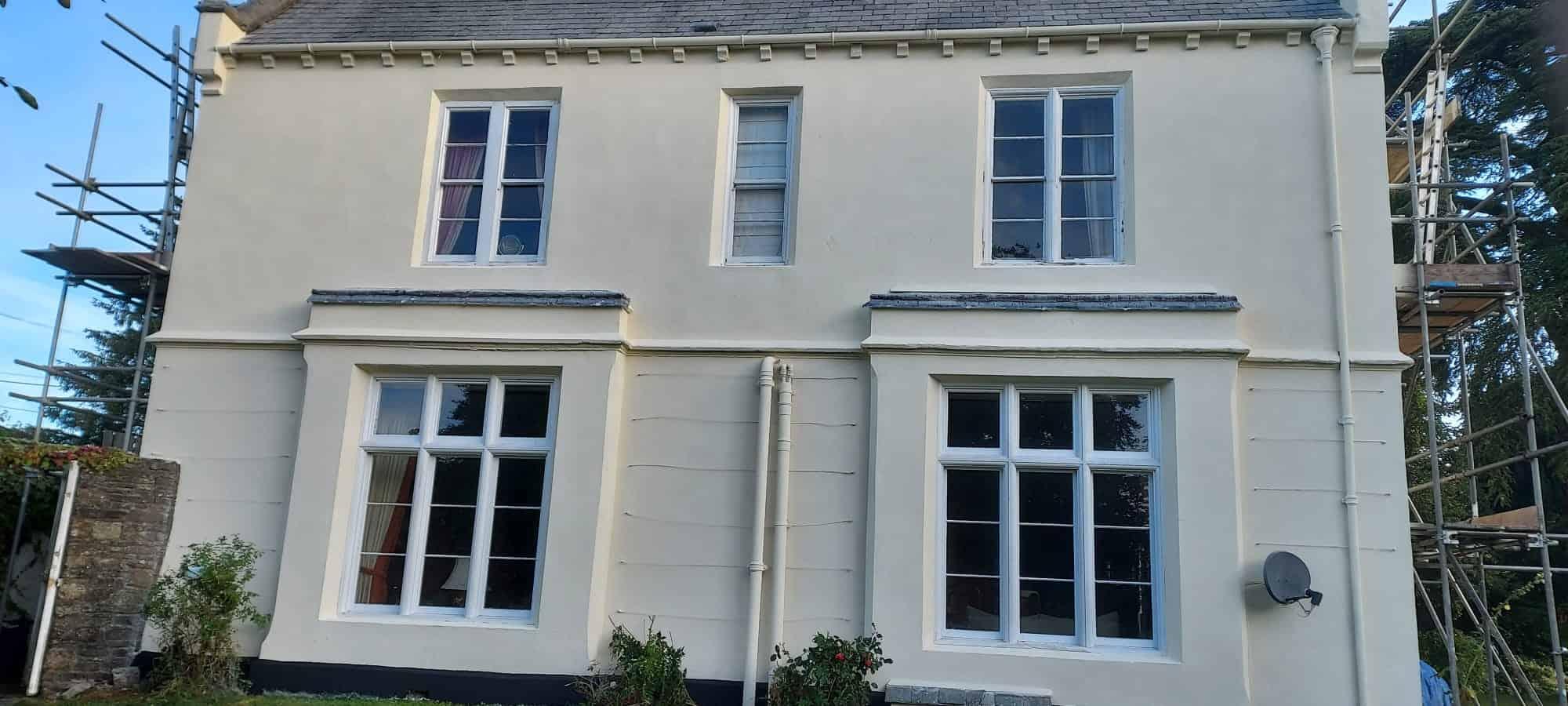 Front of Okehampton house with new wethertex wall coating