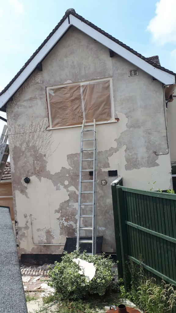 Gable end in redditch after flaky paint removal