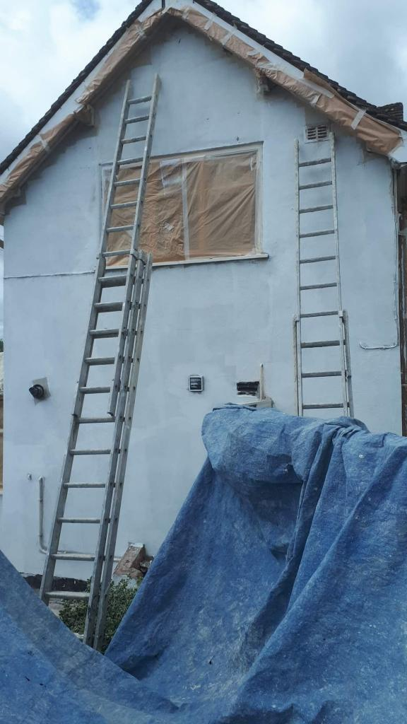 Gable end in redditch with masking and primer