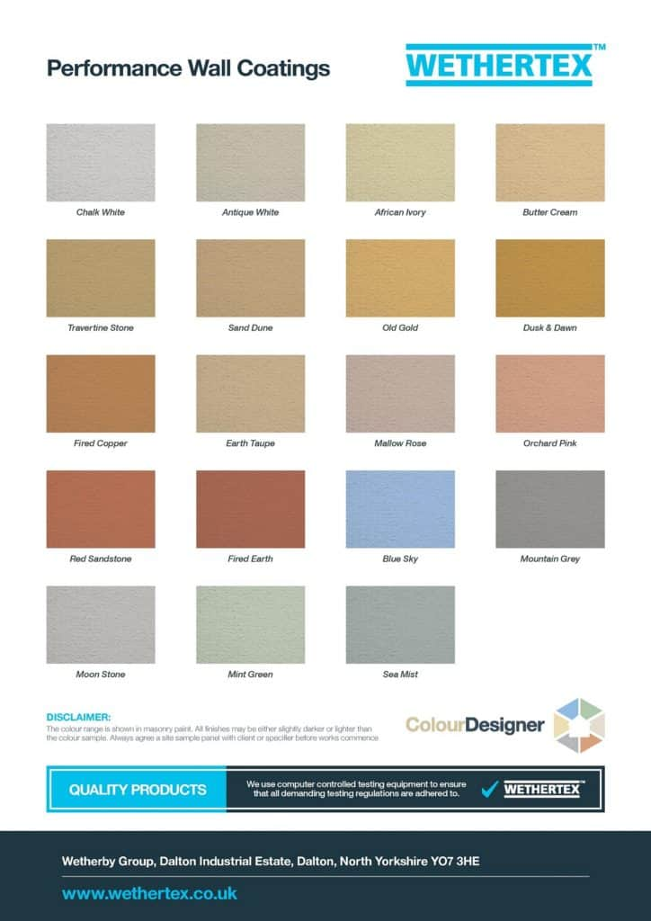 The colour chart of all the never paint again wall coatings colours, by Wethertex