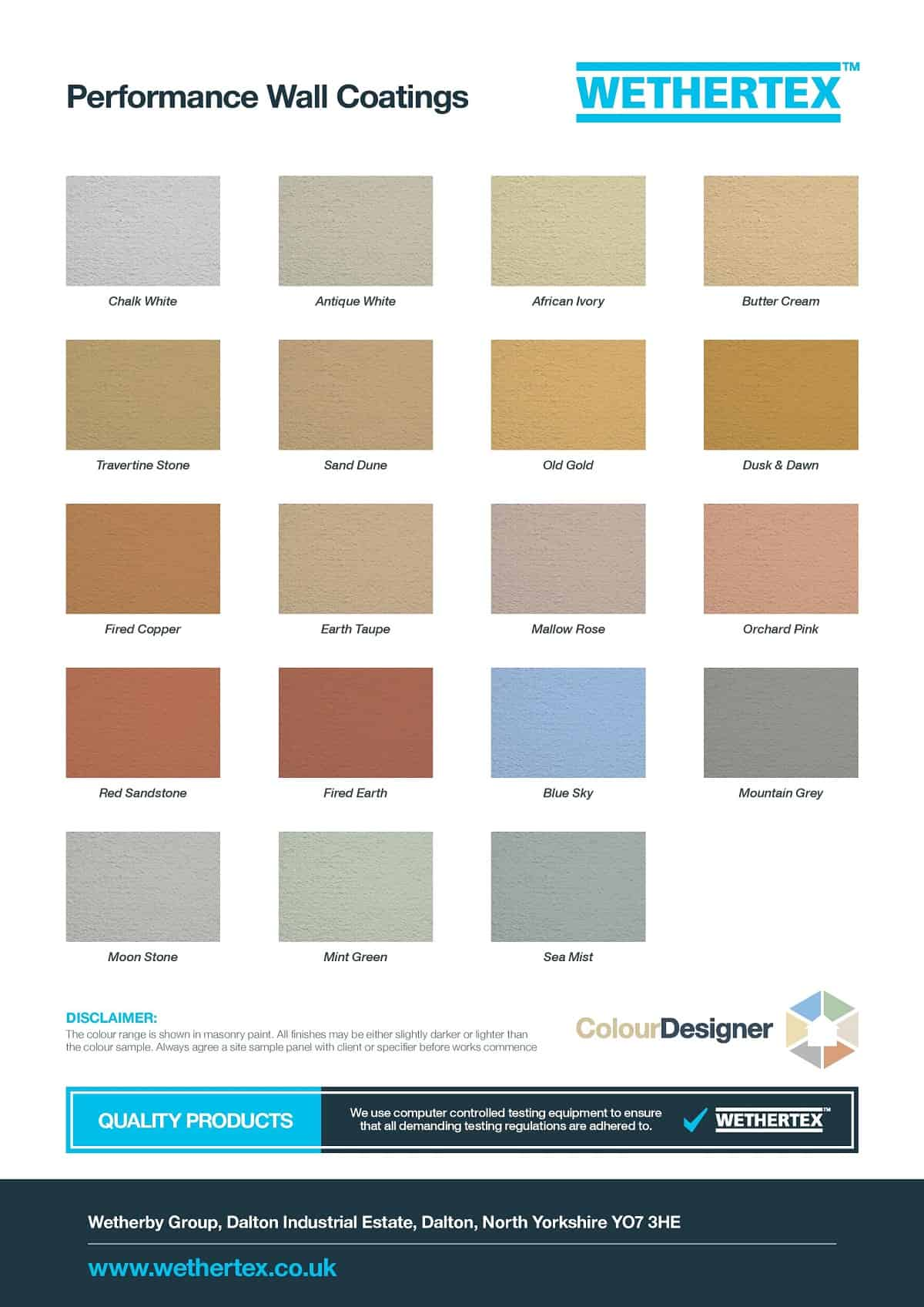 Our Wall Coating Colour Chart Never Paint Again Uk